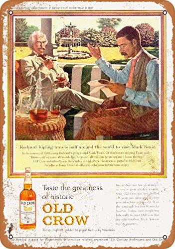 Wall-Color 7 x 10 Metal Sign - 1963 Old Crow Whiskey Mark Twain Rudyard Kipling - Vintage Look ()