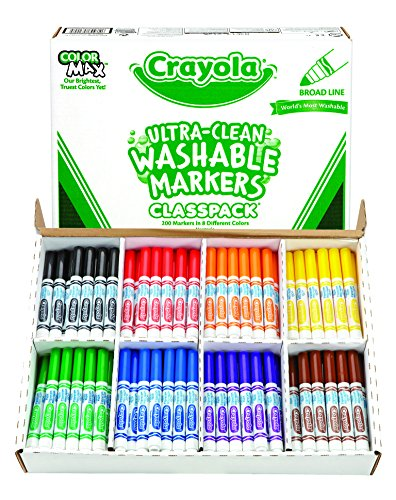 Crayola Bulk Markers  Ultra Clean  Broad Line  200 Count Classpack  Washable