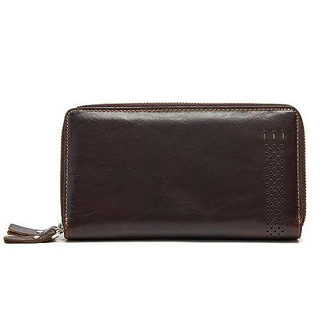 Gendi doble cremallera hombres de cuero auténtico cartera de embrague de la vendimia de largo bolso