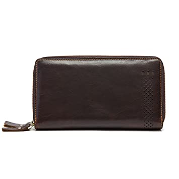 52bbb6fac Gendi Double Zipper Genuine Leather Men's Clutch Wallet Vintage Long Purse  for Male Leather Clutch Bag
