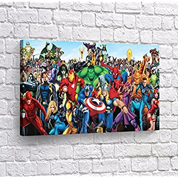 Buy4Wall Batman Wall Art Mall The Heroes from Marvel Canvas Print Decorative Artwork Super Hero Home Decor Stretched and Framed -%100 Handmade in The USA - 8x12
