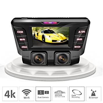 """2,7"""" Coche DVR Cámara 4K Oculto Wifi Dash Cam Frontal Y Trasero Dual"""