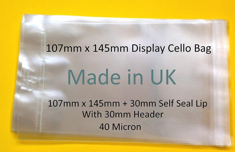EUROSLOT Künstler-Cellophan 107 x 145 mm, mit 30 mm mm mm Header mit Euroslot – 40 Mikron, durchsichtige Zellophan-Tüten, selbstklebend, 107 x 145 mm B07NS881DW | Sonderaktionen zum Jahresende  191611