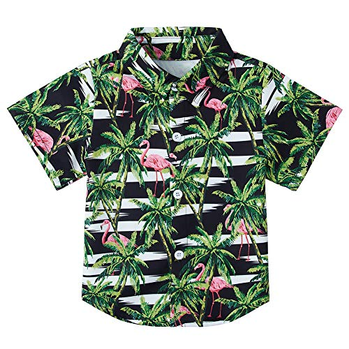 Hawaiian Shirt Little Big Boy's Tropical Palm Tree Flamingos Classic Holiday Blouse Short Sleeve Button Down Collar Party Shirts 5-6T