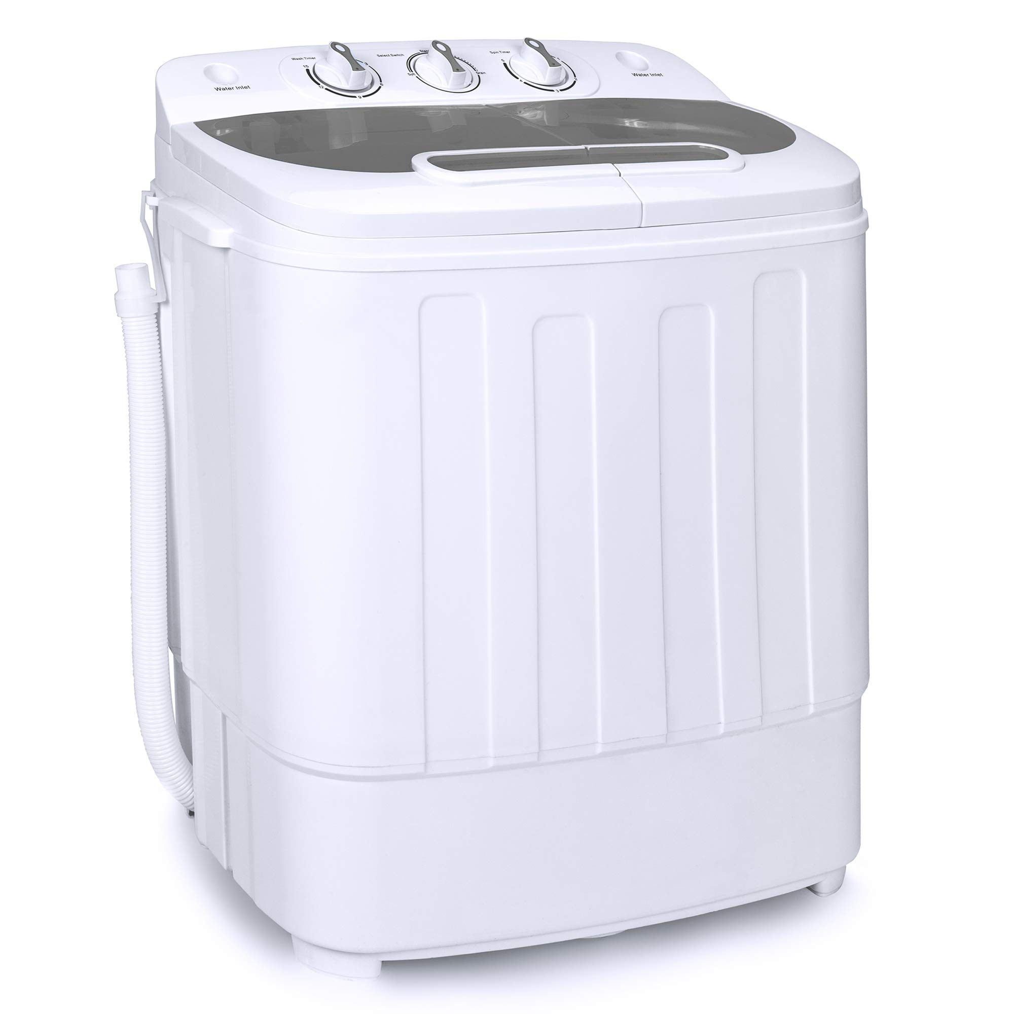 Best Choice Products Portable Compact Mini Twin Tub Laundry Washing Machine and Spin Cycle Dryer w/Hose, 13lbs Load Capacity, Built-In Drain - White/Gray by Best Choice Products