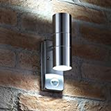 Auraglow PIR Motion Sensor Stainless Steel up & Down Outdoor Wall Security Light - Cool White
