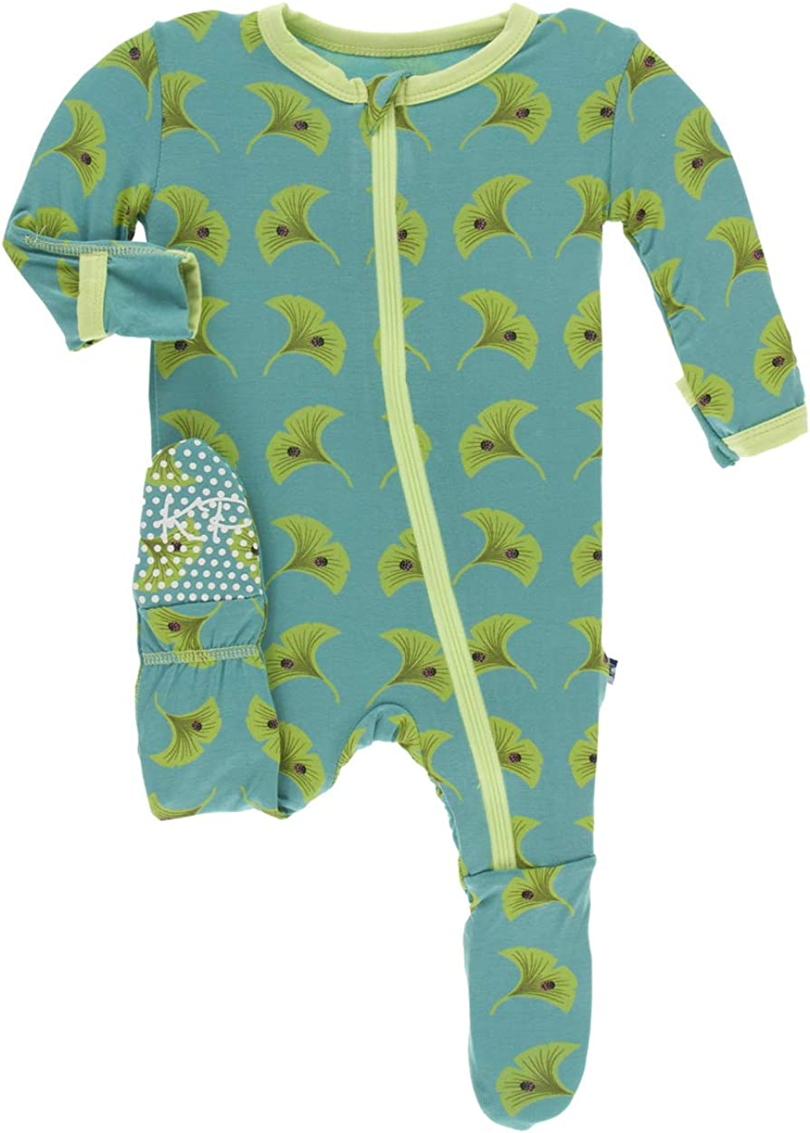KicKee Pants Print Footie with Zipper 3-6 Months, Botany Grasshopper Stripe
