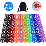 AUSTOR 100 Pieces 6-Sided Dice Set (Free Pouch), 10 16mm Acrylic Dice for Tenzi, Farkle, Yahtzee, Bunco or Teaching Math