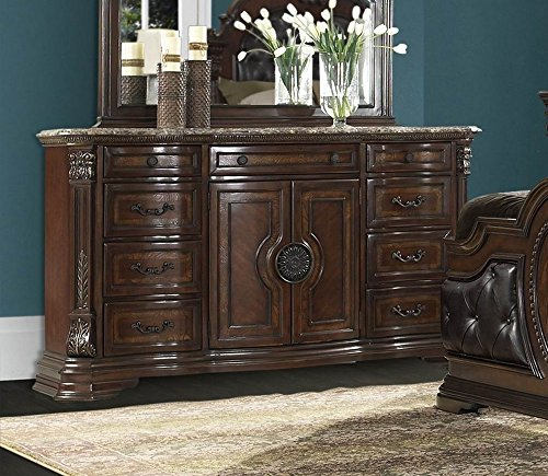(Homelegance Antoinetta 9 Drawer 2 Door Dresser & Mirror w/Marble Top in Warm Cherry - (Dresser)