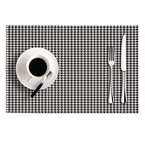 Coffee Plaid Printing Small Houndstooth Black And White High Temperature Resistant Easy To Clean PVC Placemat Set 2 Cute - 3x Fur Buffalo