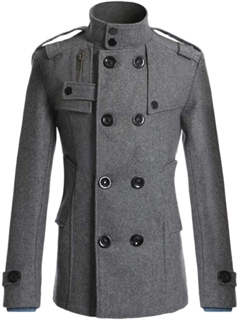 Wool Pea Coat for Men,Fleece Jacket Classic Trench Coat Winter Wool Pet Jacket Oversized Outwear Jackets