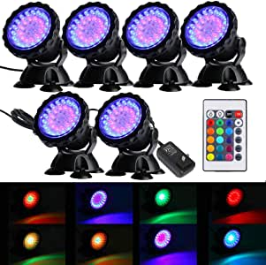 Set of 6 12-LED Submersible Underwater Pool Pond Fountain Lights PL1LED USA Seller