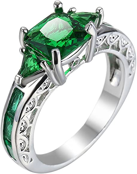 Madeone 18K Rose Gold Plating Luxury Square Emerald Green Gemstone Excellent Cut Cubic Zirconia CZ Wedding Engagement Ring for Women with Box Packing Size 6-10