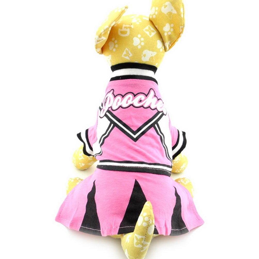 Zunea Cheerleaders Small Dog Costume Dress Female Pet Shirts for Puppy Cotton Summer Geometric Chihuahua Pooches Sundress Clothes Pink Black XS