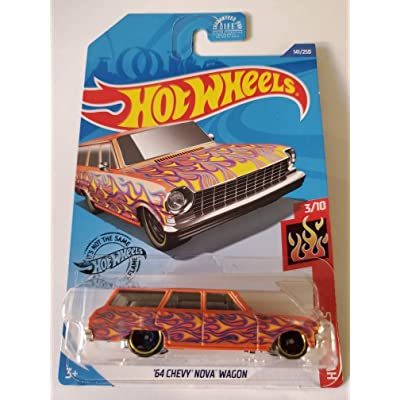 Hot Wheels 2020 Hw Flames '64 Chevy Nova Wagon, Orange 141/250: Toys & Games