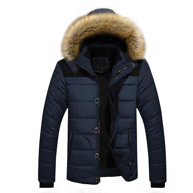 Chaquetas Hombre Invierno, Abrigos Hombre Invierno, Chaqueta con Capucha de Piel sintética Abrigo Grueso de Invierno cálido para Hombre para Lunule: ...