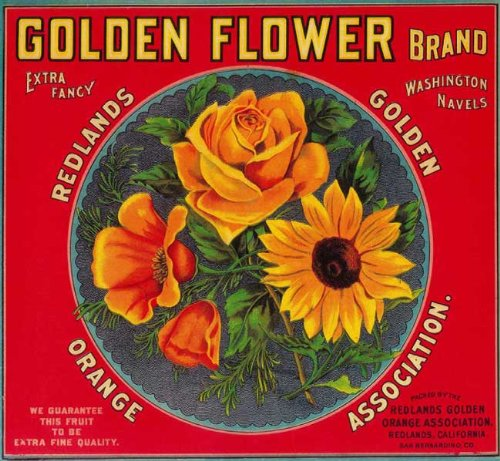Redlands, SAN Bernardino County, California Golden Flower Brand Orange Citrus Fruit Crate Box Label Art Print ()