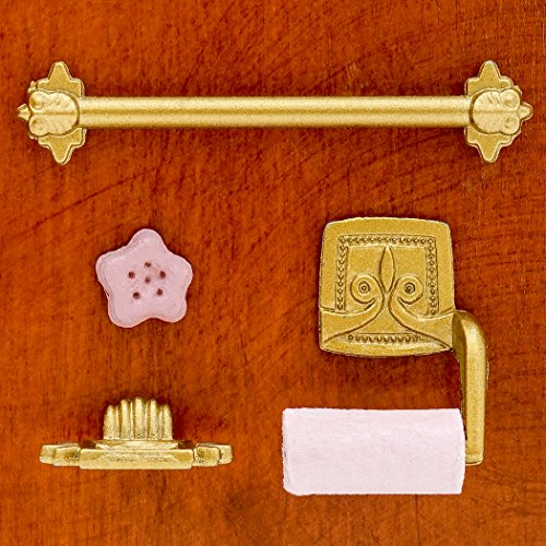 Odoria 1:12 Miniature 4PCS Dollhouse Bathroom Accessories Soap Dish Towel Bar Toilet Paper Holder
