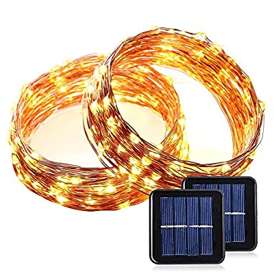 LUCKLED Outdoor Solar Powered String Lights, 33ft 100 LED Warm White Fairy Starry Copper Wire Rope lights for Indoor, Garden, Home, Patio, Wedding, Christmas Party and Holiday Decorations