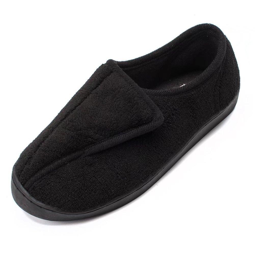Women Diabetic Slippers Arthritis Edema Memory Foam Closed Toed Slippers, Black, 8 D(M) US
