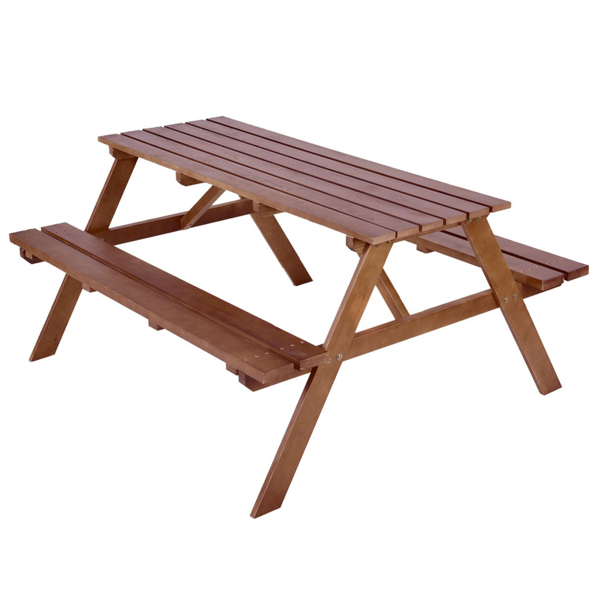 Giantex Solid Pine Wood Picnic Table w/ Attached Bench Seat Garden Backyard Outdoor