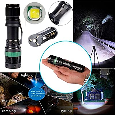 3000 Lumen Zoomable Cree Xm-l T6 LED Flashlight Torch Zoom Lamp Light Black