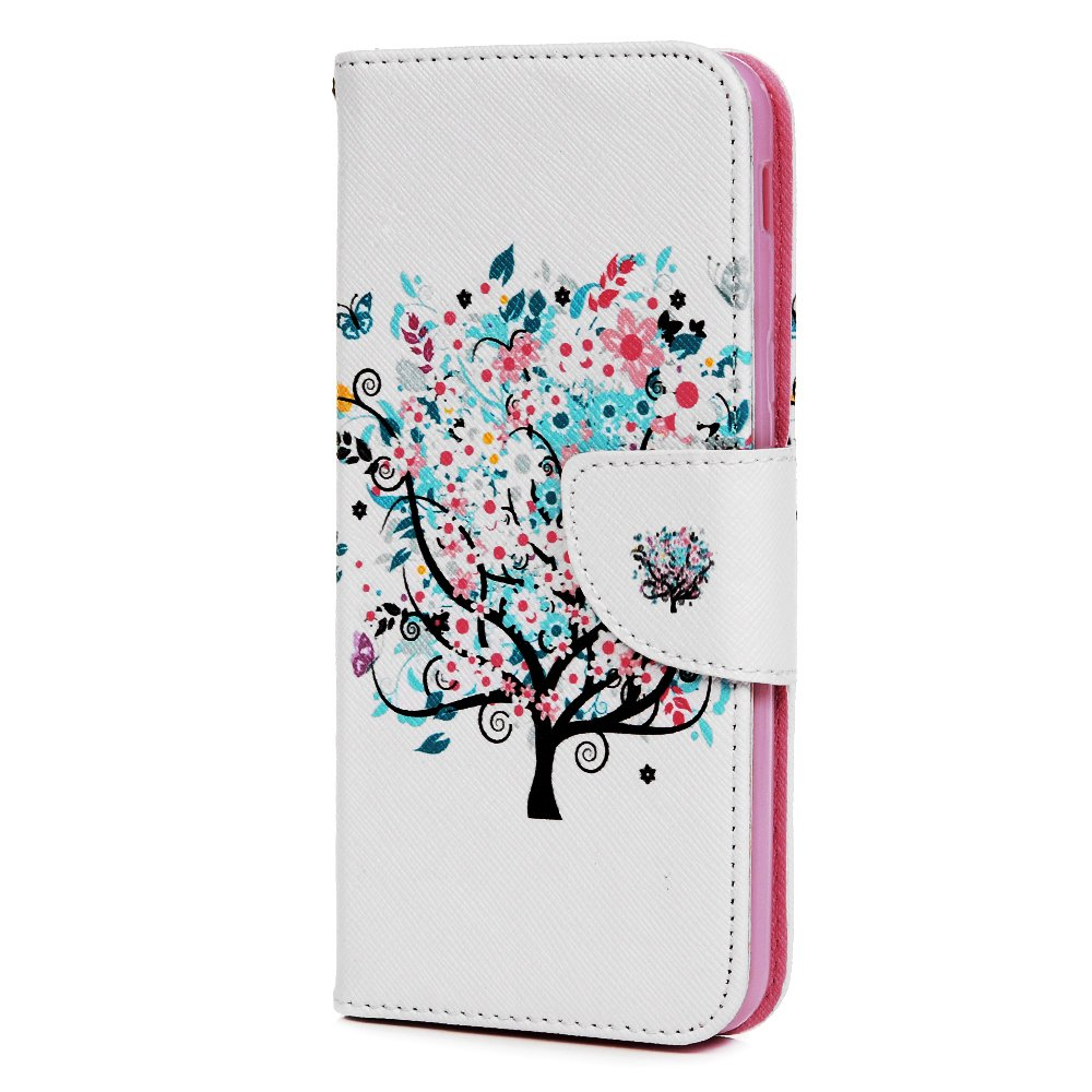 For Samsung Galaxy J6 2018 Case,Vagenno PU Leather Flip Case Wallet Cover Colorful Pattern with TPU Shockproof Card Slots Magnetic Closure Stand Function Folio Flip Notebook Case Cover for Samsung Galaxy J6 2018 - Big Tree
