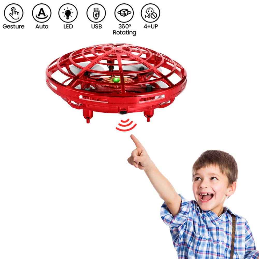 Cute unicorn UFO Flying Ball Toys, Hand Controlled Drone Quadcopter Altitude Hold Infrared Sensing Control Mini RC Drones Helicopter Gift for Kids Boys Girls (RED)