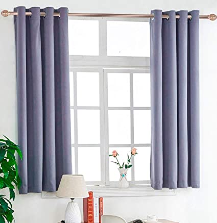 TEMNETU Light Grey Blackout Curtains Panels, Short Bedroom Curtain- Grommet  Thermal Insulated Drapes for Bedroom/Living Room,2 Panels (W52x45L)