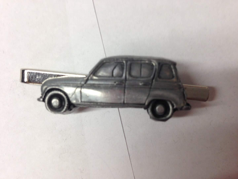RENAULT 4ref207Effet Étain voiture emblème sur une pince à cravate (diapositive) fait à la main à Sheffield Livré avec prideindetails Boîte Cadeau