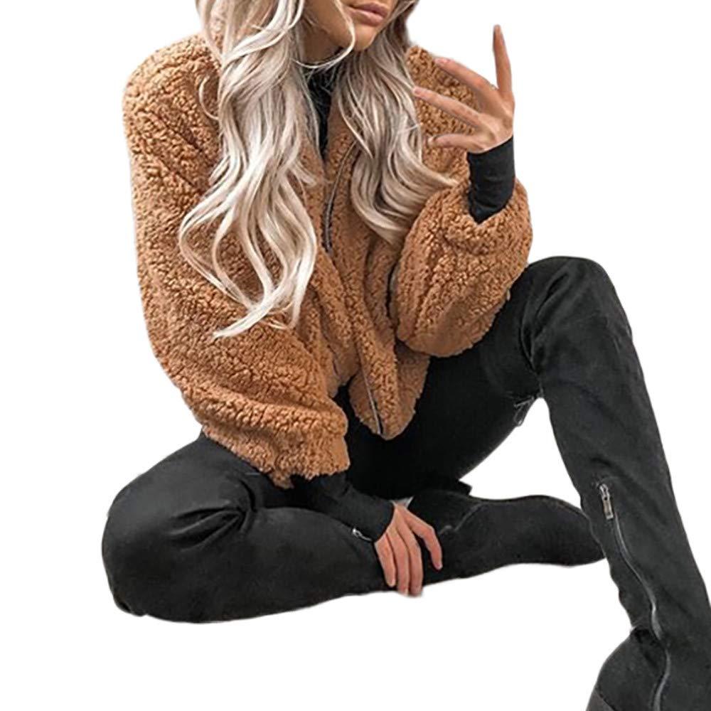 Lazzboy Womens Jacket Coat Fleece Fluffy Zipper Stand Collar Plain Pocket Winter Warm-up Wrap Outerwear