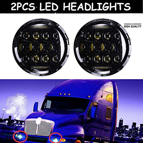 7-LED-Headlight-For-Kenworth-T2000-T-2000-1998-2010-Tractor-Trailer-Truck-Lamps-Light-Bulb-Black