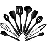 Silicone Kitchen Cooking Utensils Set Heat-Resistant Non-Stick Baking Utensils with Hygienic Solid Coating Spatula Set 10 Pieces (Black)