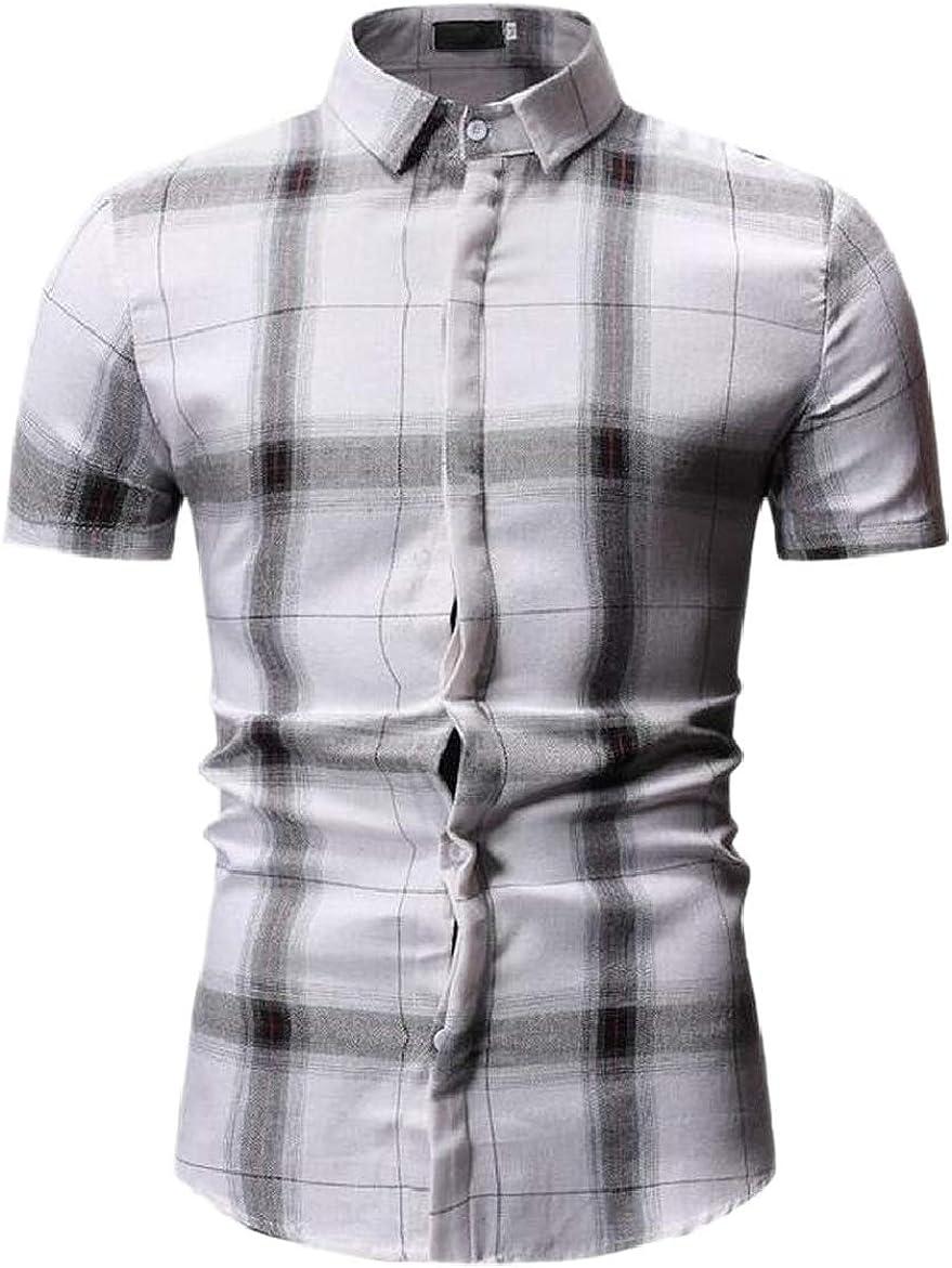 shinianlaile Mens Cotton Slim Fit Short Sleeve Button Up Plaid Dress Shirt
