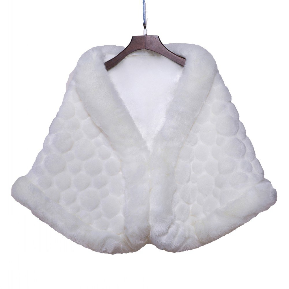 BOWITH Women Winter Two Color Warm Wedding Wrap Shawl Faux Fur Jacket Coat Ivory