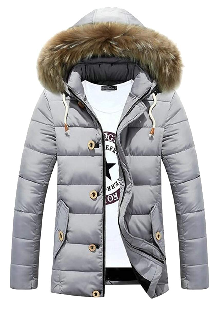 CBTLVSN Men Winter Quilted Faux-Fur Hoodies Padded Down Jackets