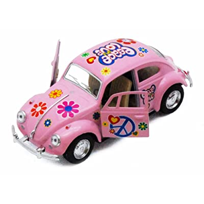 1967 Volkswagen Classical Beetle w/ Peace Love Decals, Pink - Kinsmart 5375DF - 1/32 Scale Diecast Model Toy Car, but NO Box: Toys & Games