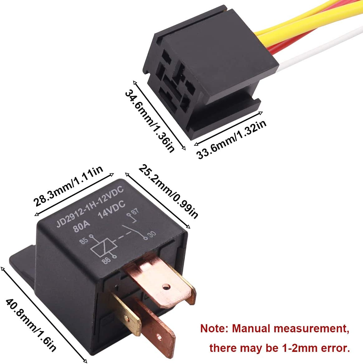 smseace 2PCS DC 12V 40A 4Pin SPST Electrical Relay Used for Automotive Truck Motor JD2912-1H-12VDC 40A 14VDC Normally Open Relays JDC-4p-12v-40A-2PCS