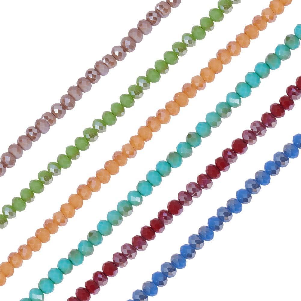 Glasperlen 6x4 mm facettiert Abakus Glas Perlen Rondell 50 Stück
