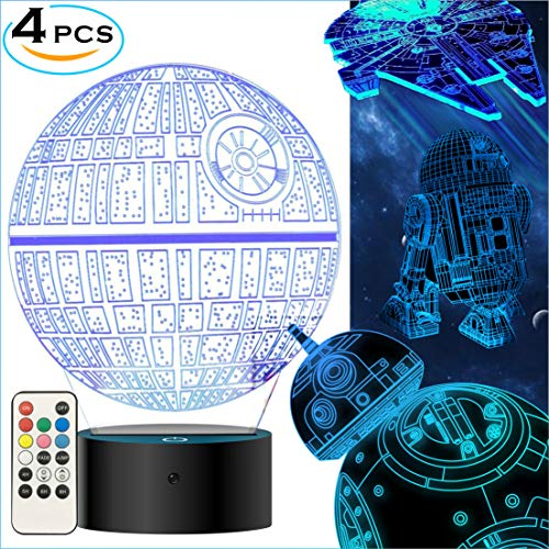 MOSSOM Star Wars Gifts 3D Lamp - Star Wars Toys Night Light for Kids Room Decor,4 Patterns and 7 Color Changing with Remote Control,2019 for Men Women Boys Star Wars Fans (4 Packs-Bigger-Brighter)]()