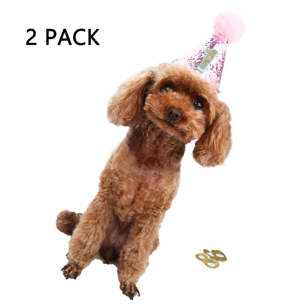 HOMIMP 2 Pcs Pink Dog Birthday Hats with 0-9 Figures Accessories for Pets HM0816PH2-UK