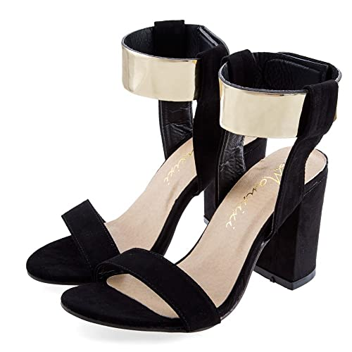 1f49b705ca0bc Hannea Laides Sexy Golden Band Design Magic Tape Thick High Heel Gladiator  Sandals  Buy Online at Low Prices in India - Amazon.in
