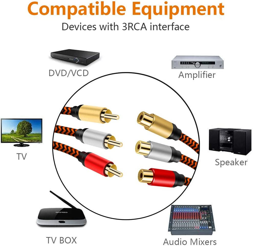 10ft Audio Video RCA Cable,3RCA to 3RCA Composite AV Stereo RCA Extension Cable Compatible with Set-Top Box,Speaker,Amplifier,DVD Player,24K Gold Plated,Nylon Braid