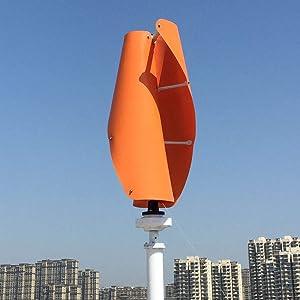 Kücheks 600w Vertical Wind Turbine 3 Phase 12V 24V 48V 96V Vertical Coreless Wind Generator Green White Orange Blades (24V Without Controller, Orange)