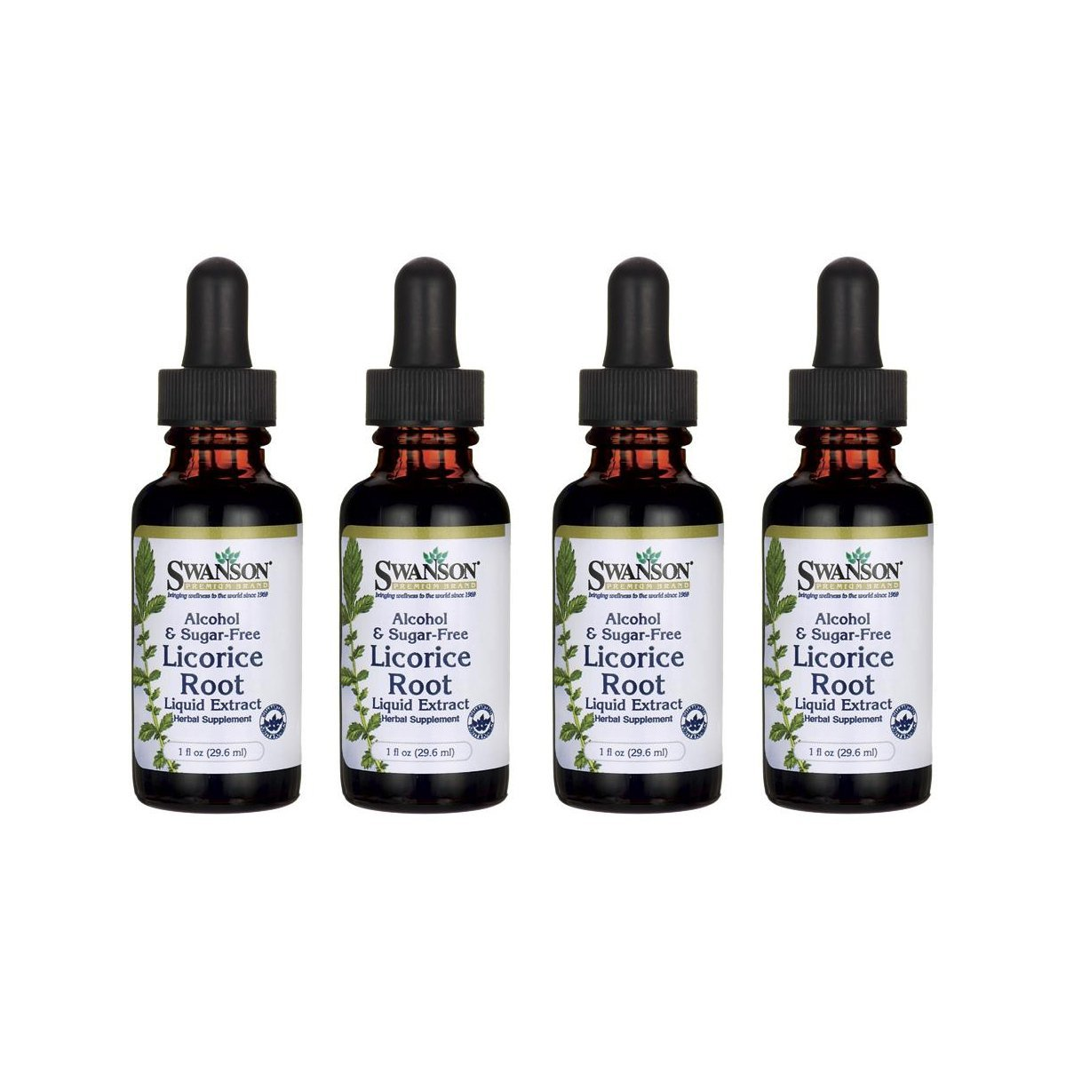 Swanson Licorice Root Liquid Extract (Alcohol and Sugar-Free) 1 fl oz Liquid 4 Pack