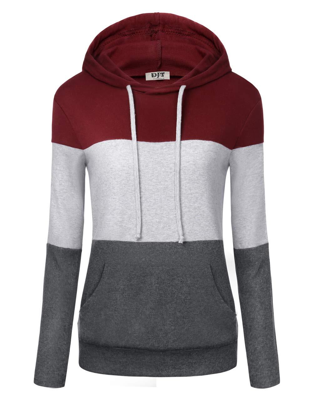 DJT Women's Colorblock Lightweight Long Sleeve Hoodies Pullover Sweatshirts Tops