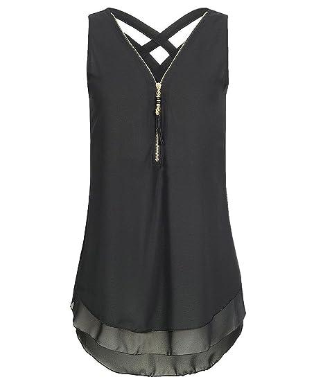 Rolin Roly Mujeres Camisetas sin Mangas Cremallera Cuello en V Camisetas women tank tops (Negro