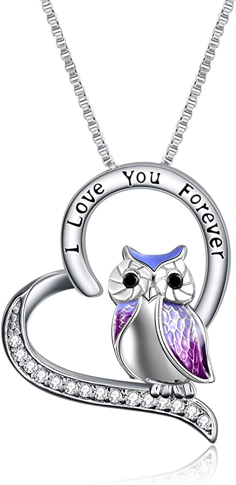 YFN Owl Heart Pendant Necklace