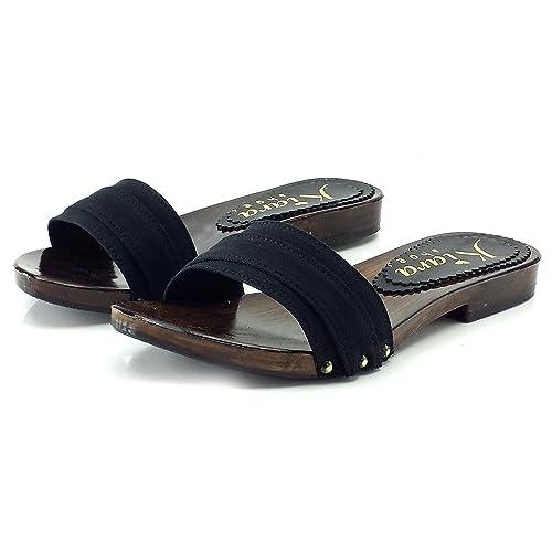 scarpe di separazione af235 281b5 kiara shoes Zoccoli Neri Bassi - dal 35 al 42 - KV1201 Nero ...