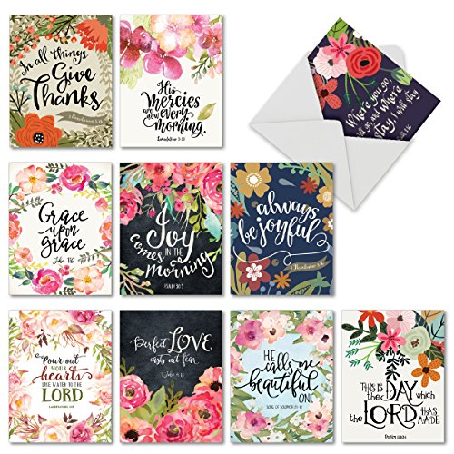 M6634OCB Blessings: 10 Assorted Blank All-Occasion Note Cards Feturing Beautiful Watercolored Floral Blooms Paired with Inspirational Bible Quotes, w/White Envelopes.